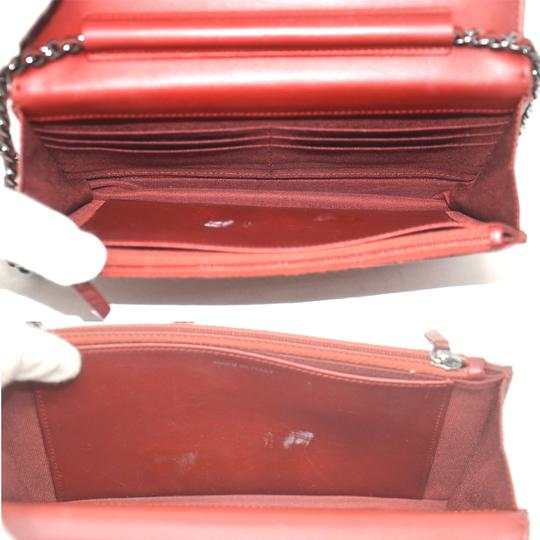 Chanel Patent Leather Shoulder Red Clutch Image 7
