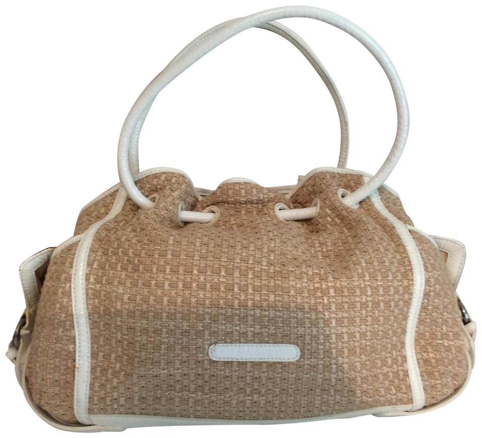 a10c321a841 Cole Haan Soft Weave Trim Super Inside Satchel in Straw with cream patent  leather ...