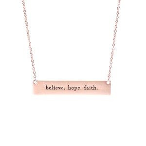 Riah Fashion Believe, Hope, Faith Message Bar Necklace