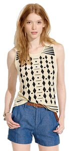 Madewell Embroidered Silk Top black and cream