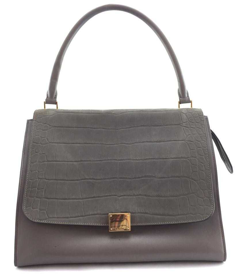 Céline Trapeze  18689 Grey Leather and Embossed Crocodile Leather ... 2538c61110a26