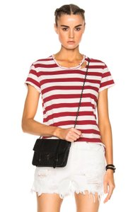 RtA Distressed Off Duty Cotton T Shirt Red/ White Stripe