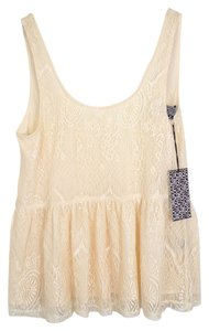MM Couture Lace V Neck Top IVORY