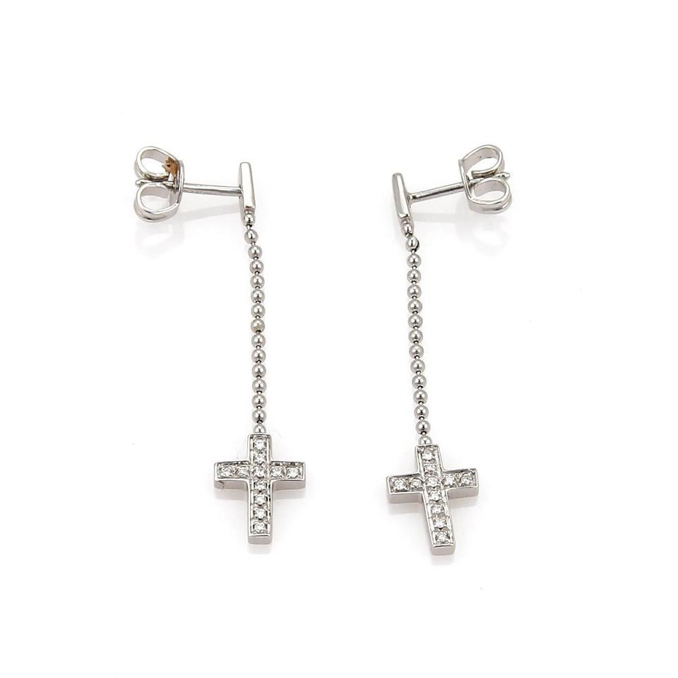 Gucci 19663 Diamond 18k White Gold Drop Dangle Cross Earrings