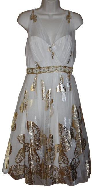 Item - Ivory/Gold Collection Ivory/Gold Foiled Tulle Women's Mid-length Formal Dress Size 8 (M)