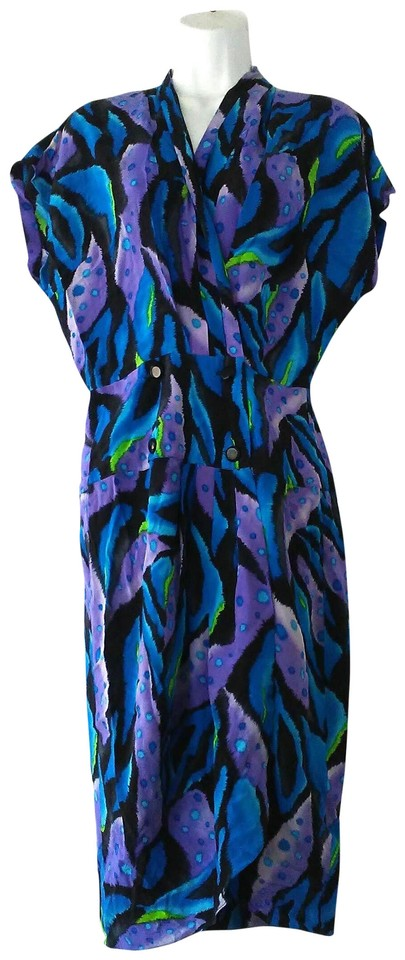 Blue Neon Animal Print Silk Wrap Mid-length Cocktail Dress Size 8 (M ... df31106f2