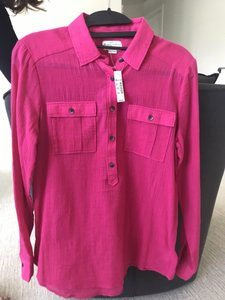 Broadway & Broome Cargo Light Weight Long Sleeve Button Top Pink