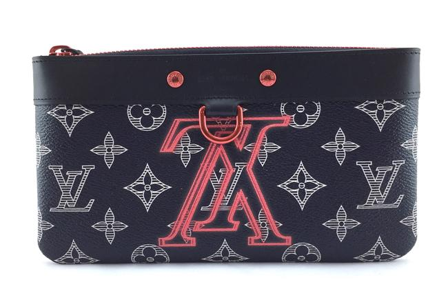 Item - Pochette #18702 Extremely Rare Apollo Pm Monogram Dark Blue Eclipse Ink with Lv Logo Upside Down with Black and Pink-ish Orange Hardware Coated Canvas Clutch