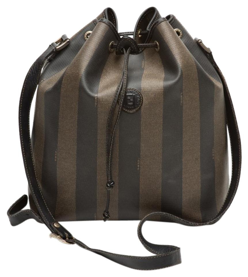 6293f130ca Fendi Pequin Striped Bucket Brown Canvas Shoulder Bag - Tradesy