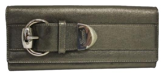 Gucci Gucci Gray Leather Buckle Clutch