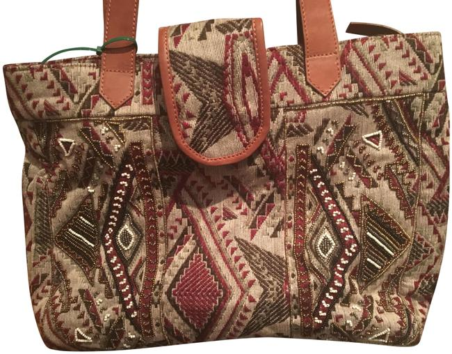 Item - Beaded Taupe/Red/Gold Tribal Woven/Leather Tote