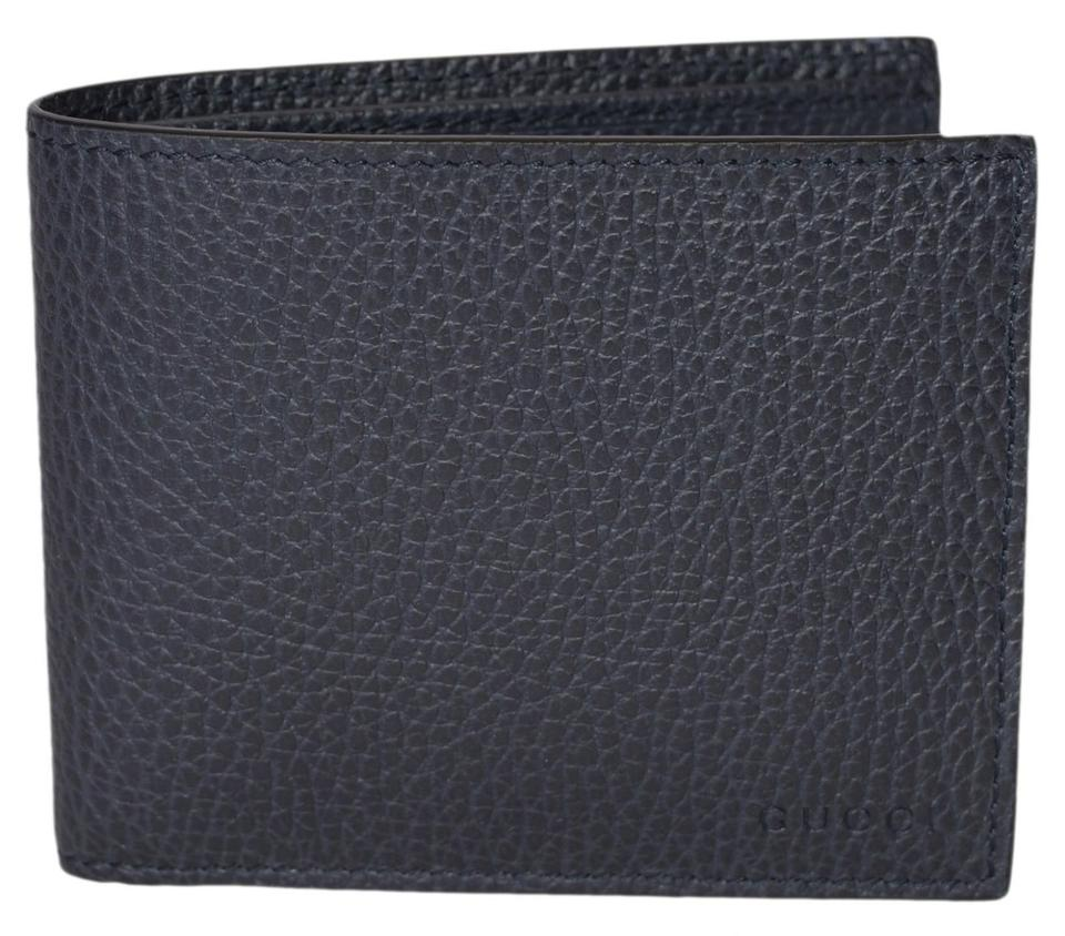 7cfa272d9c27 Gucci NEW Gucci Men s 260987 4009 Blue Leather Trademark Logo Bifold Wallet  Image 0 ...