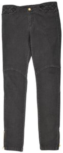 Louis Vuitton Logo Leather Trim Soft Stretchy Skinny Jeans-Dark Rinse