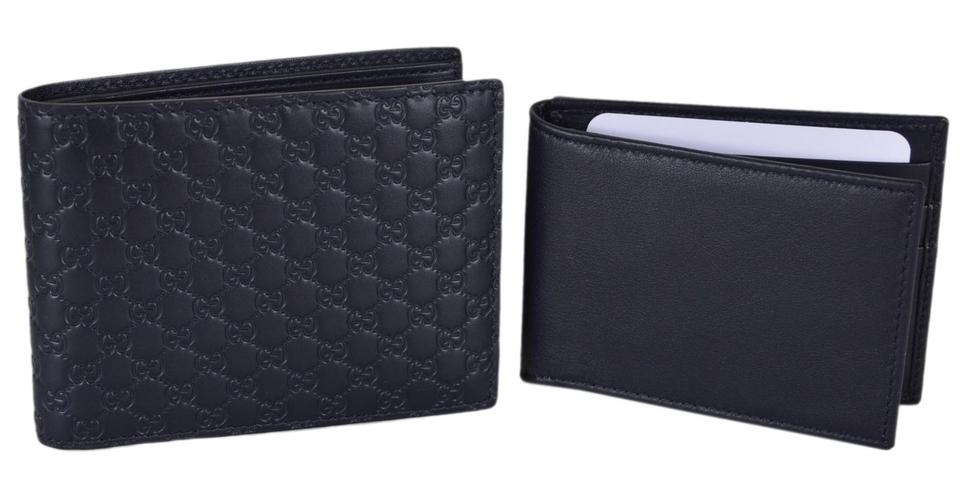 118b8f2cd24 Gucci NEW Gucci Men s 333042 Blue Leather Micro GG Bifold Wallet With ID  Image 8. 123456789