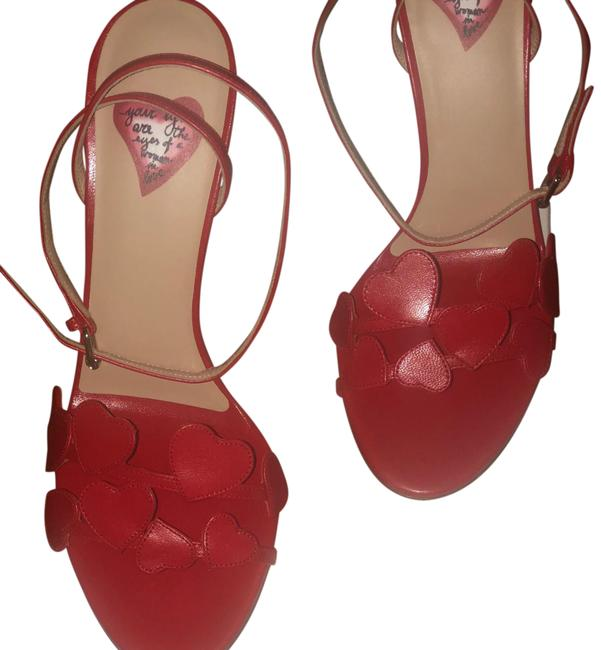 Item - Red L'amour Heart Strappy Heel Formal Sandals Size US 8.5 Regular (M, B)