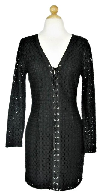 Ministry Of Style Black Gothic Lace-up Eyelet Long Sleeve Short Cocktail Dress Size 4 (S) Ministry Of Style Black Gothic Lace-up Eyelet Long Sleeve Short Cocktail Dress Size 4 (S) Image 1