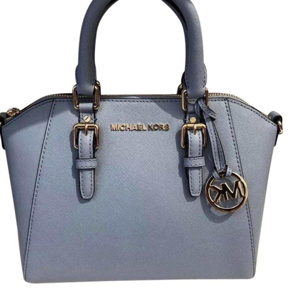 fa3a2573b67e Michael Kors Mk Leather Xs Ciara Medium Satchel Pale Blue Cross Body ...