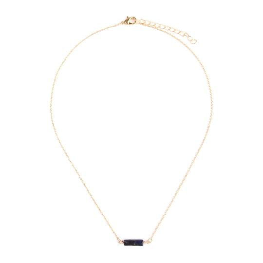 Riah Fashion Delicate Natural Stone Bar Necklace Image 1