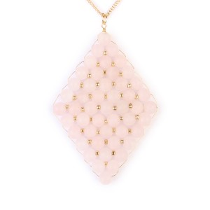 Riah Fashion Wired Diamond Pendent Natural Stone Necklace