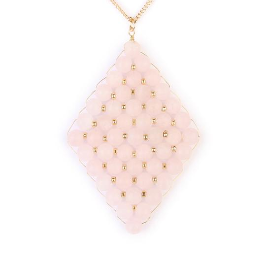 Preload https://img-static.tradesy.com/item/23374258/light-pink-wired-diamond-pendent-natural-stone-necklace-0-0-540-540.jpg