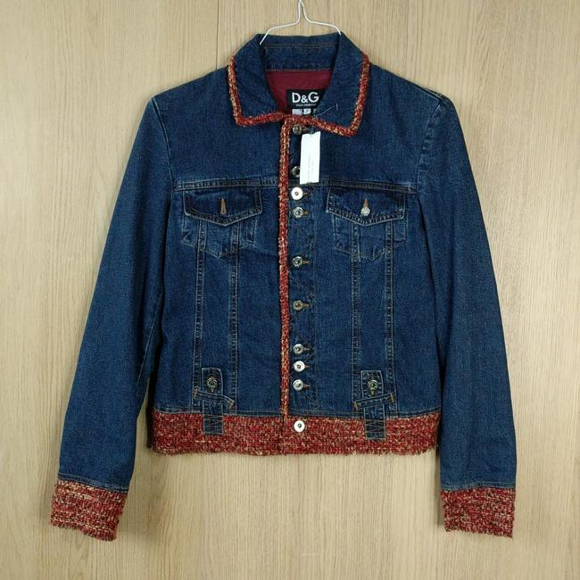 Item - Blue New Dolce & Gabbana Red Tweed Jacket Size 4 (S)