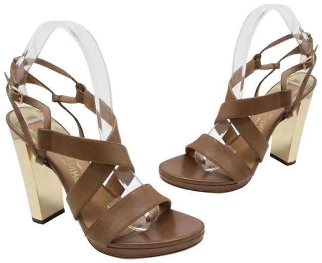 Item - Tobacco Criss-crossed Brown Calfskin Leather Straps with Gold Resin Heels Sandals Size US 8.5 Wide (C, D)