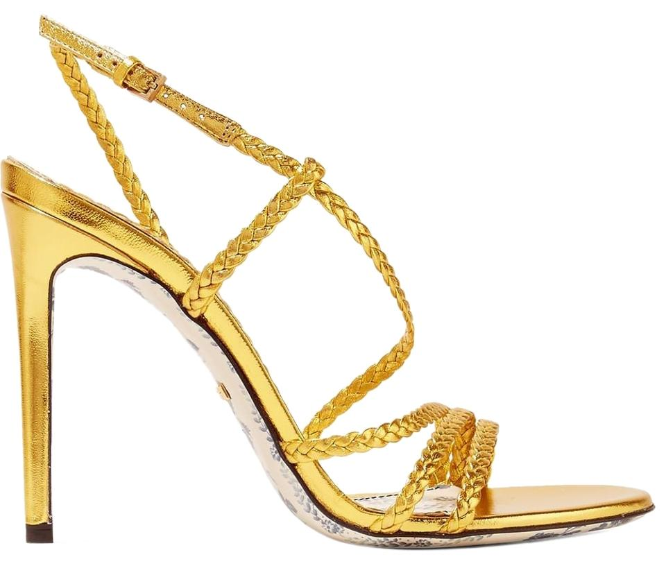 e2db0d89c9f Gucci Gold Haines Braided Metallic Leather Slingback Sandals. Size  EU 38  (Approx. US 8) Regular (M ...