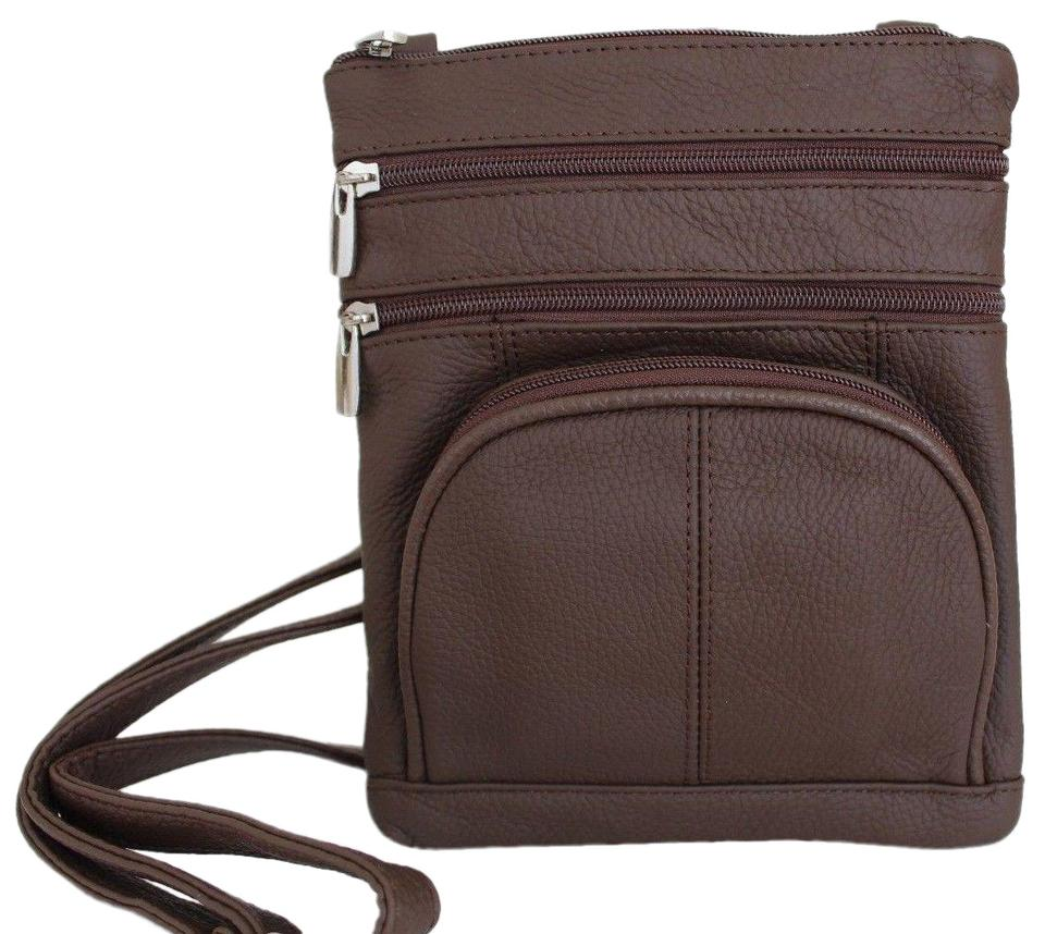 Women s Genuine Multi Zip Pocket Medium Dark Brown Leather Cross Body Bag 5a83ded524