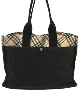 Burberry London Tote in Black with Burberry stripes
