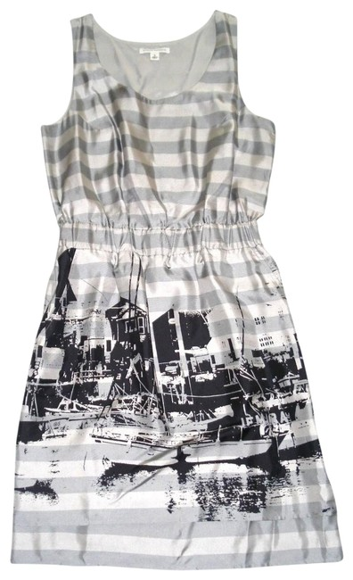 Item - Gray Sleeveless Striped Pictorial Silk Mid-length Night Out Dress Size 8 (M)