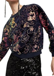 Zara Sequin Embellished Gold Floral Embroidered Sweater