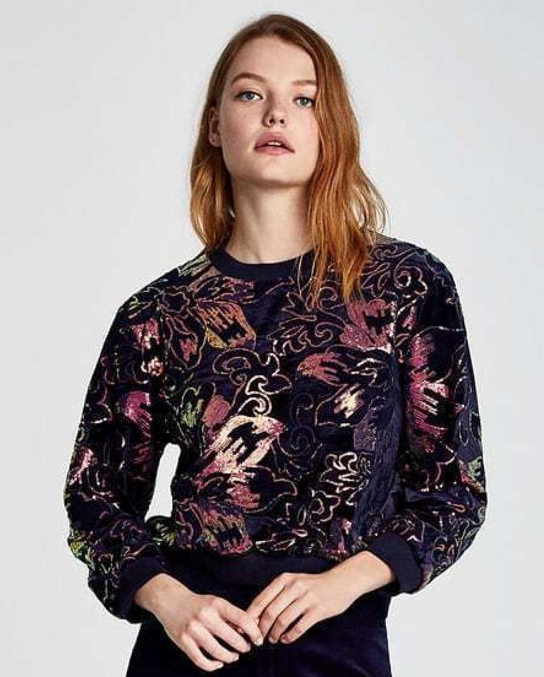 c8303a3f Zara Sequin Embellished Gold Floral Embroidered Sweater Image 8. 123456789