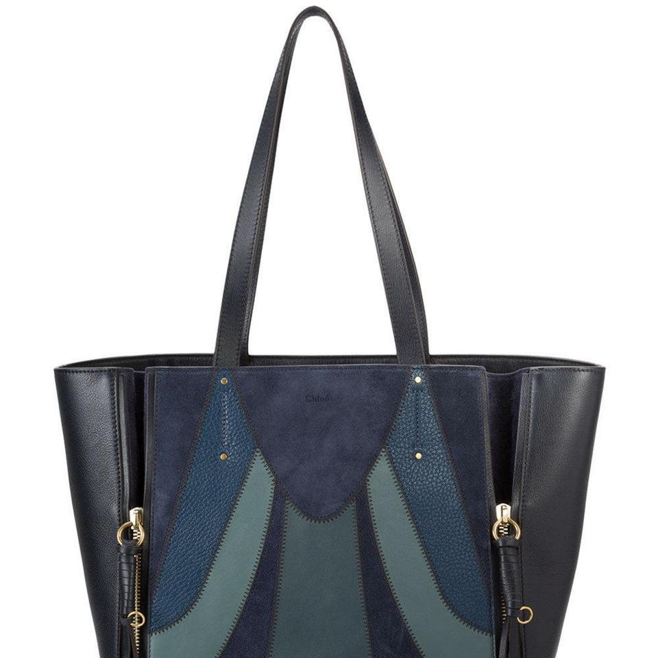 Limited Chloé Leather Tote Milo Suede Sold Blue Out New Patchwork PvfRvxqAEw