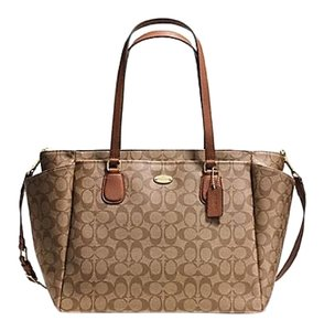 Coach Khaki Saddle Brown Diaper Bag