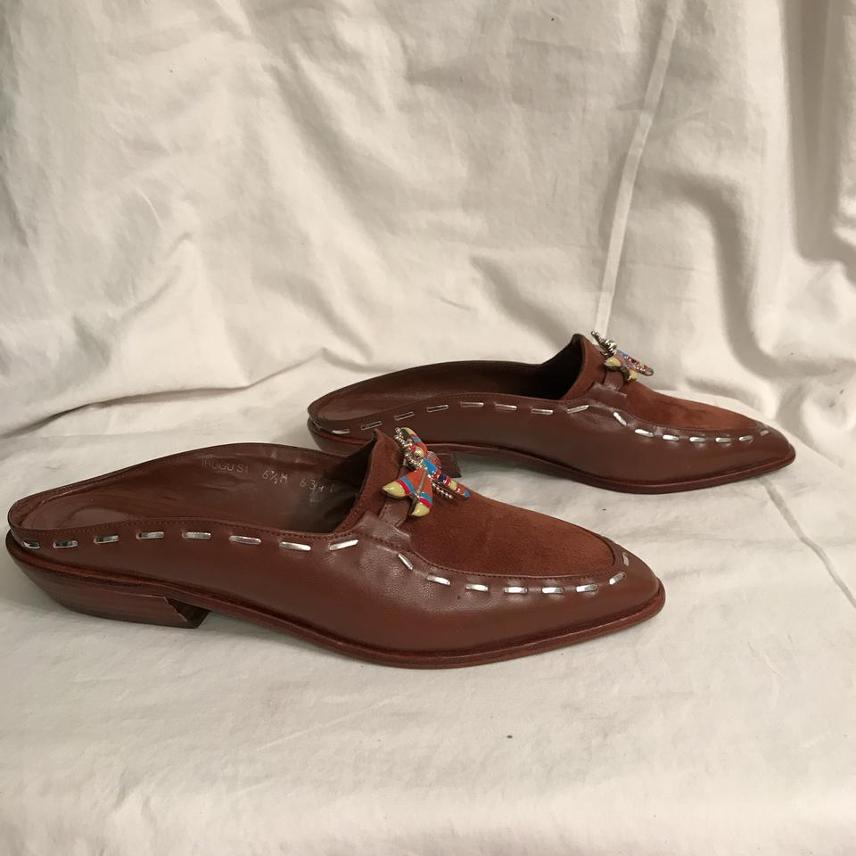 donald j pliner brown multi new dragonfly suede leather mules
