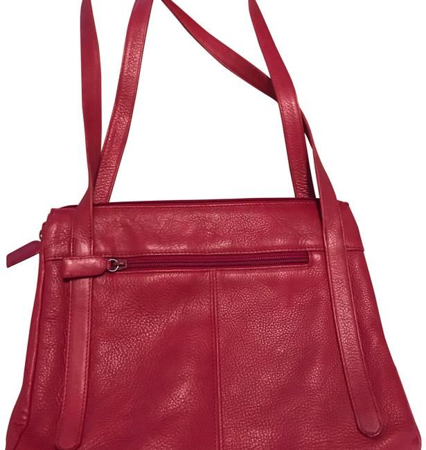 """Item - """"classic"""" Purse / Red Leather Sewn with Matching Thread & 3 Nylon Zipper Pockets Shoulder Bag"""