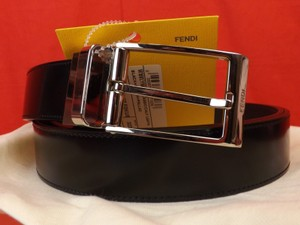 Fendi Black / Brown Leather Reversible Palladium Buckle Belt One Size Fits All Men's Jewelry/Accessory
