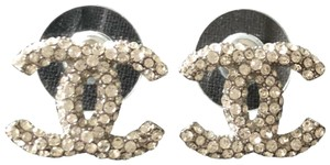 Chanel CC Logo Crystal Stud Earrings 2018