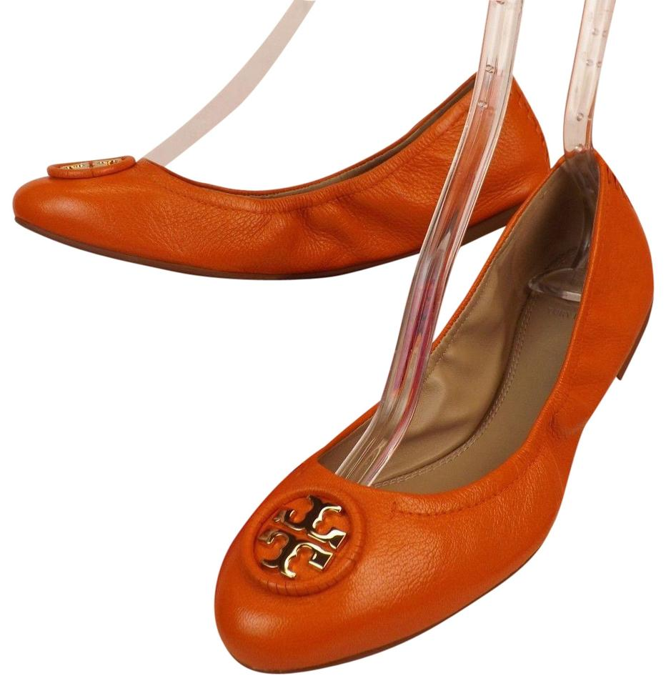 cfd826733ee0 Tory Burch Mango Orange Allie Tumbled Leather Gold Tone Reva Ballet Flats.  Size  US 9.5 Regular (M ...