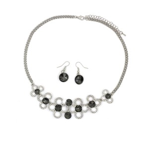 Ocean Fashion Silver Gray crystal necklace earrings sets