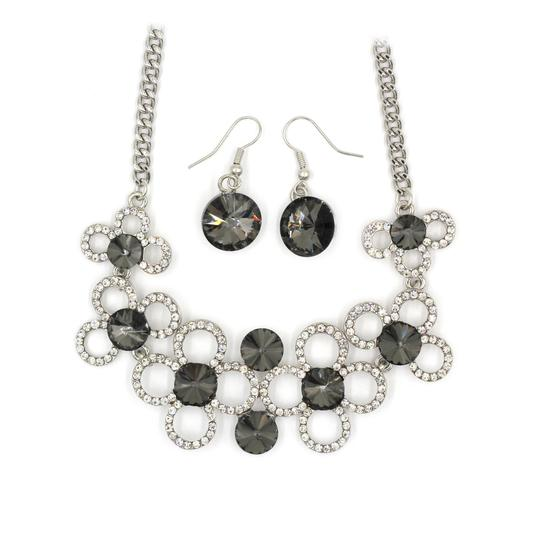 Ocean Fashion Silver Gray crystal necklace earrings sets Image 1