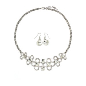Ocean Fashion Silver White crystal necklace earrings sets