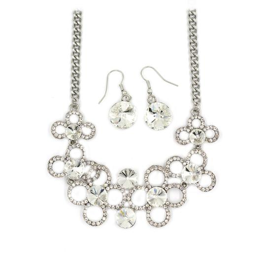 Ocean Fashion Silver White crystal necklace earrings sets Image 2