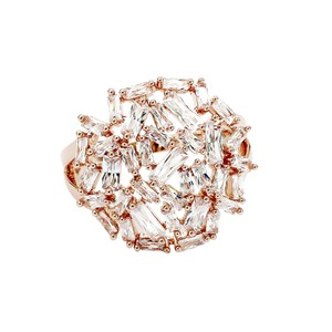 Ocean Fashion Fashion small square rose gold crystal ring