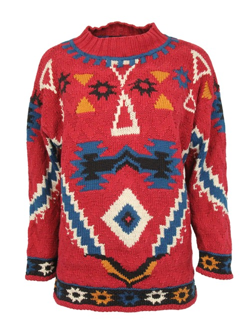 Preload https://img-static.tradesy.com/item/23375697/hand-knit-aztec-red-sweater-0-2-650-650.jpg