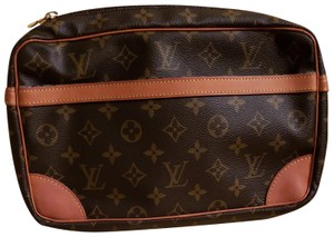 Louis Vuitton Monogram Trousse De Voyage Travel Accessory Clutch Wristlet in Brown