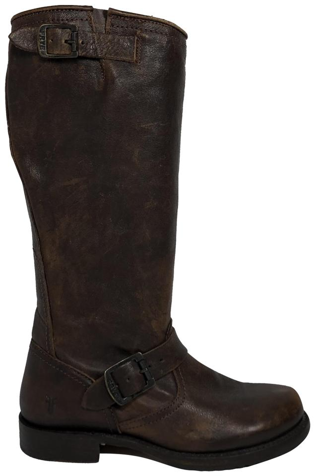 Frye Brown Veronica Slouch Grain Tumbled Full Grain Slouch Boots/Booties d440ce