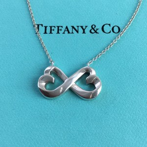 """Tiffany & Co. Paloma Picasso Silver Double Loving Heart Infinity 18"""" Necklace"""