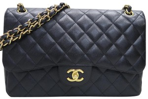 Chanel Jumbo Caviar Double Flap Cross Body Bag
