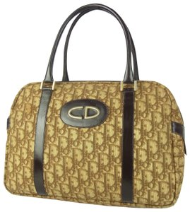 Dior High-end Bohemian Style Excellent Vintage Shades Of Satchel in brown trotter logo print canvas and brown leather